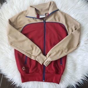 ACE Brand Retro Colorblock Jacket Red Tan Small